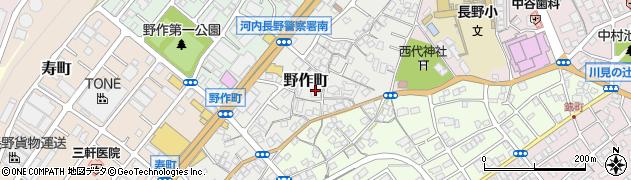 大阪府河内長野市野作町周辺の地図