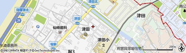 大阪府貝塚市津田南町周辺の地図