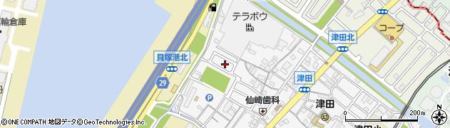 大阪府貝塚市津田南町29周辺の地図
