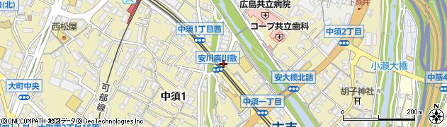 安川廃川敷周辺の地図