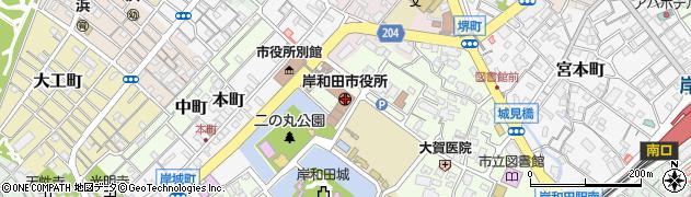 大阪府岸和田市周辺の地図