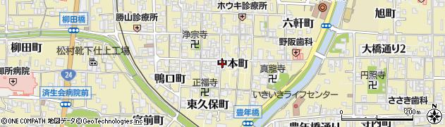 奈良県御所市中本町周辺の地図
