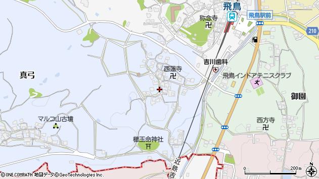 〒634-0137 奈良県高市郡明日香村真弓の地図
