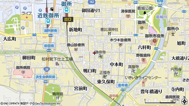 〒639-2215 奈良県御所市西町の地図