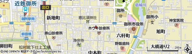 奈良県御所市中央通り周辺の地図