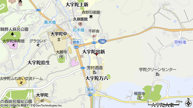 〒633-2162 奈良県宇陀市大宇陀出新の地図