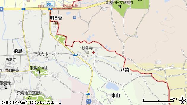 〒634-0104 奈良県高市郡明日香村八釣の地図