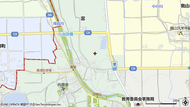 〒634-0108 奈良県高市郡明日香村雷の地図