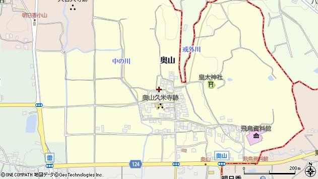 〒634-0102 奈良県高市郡明日香村奥山の地図