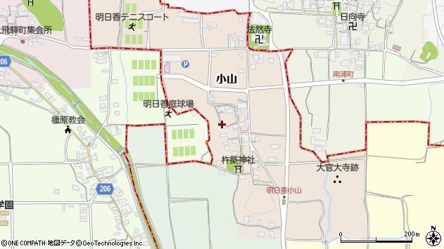 〒634-0101 奈良県高市郡明日香村小山の地図