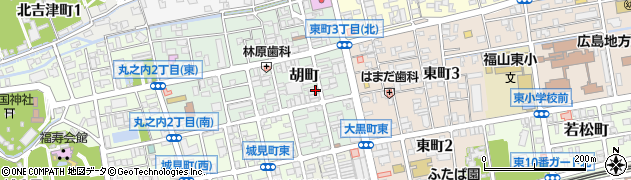 広島県福山市胡町周辺の地図