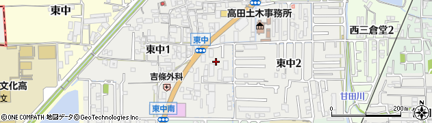 奈良県大和高田市東中周辺の地図