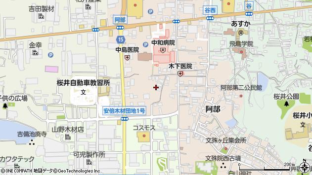 〒633-0054 奈良県桜井市阿部の地図