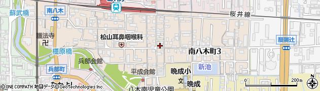 奈良県橿原市南八木町周辺の地図