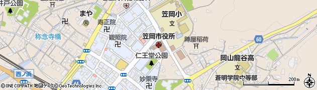 岡山県笠岡市周辺の地図