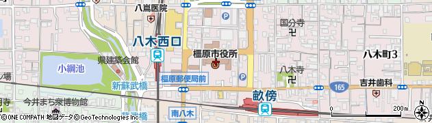 奈良県橿原市周辺の地図