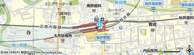 奈良県桜井市周辺の地図