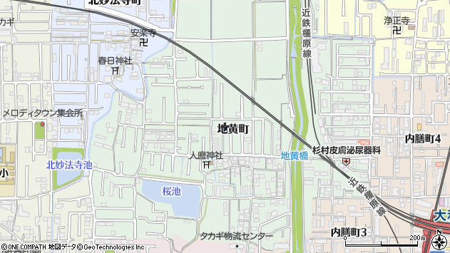 〒634-0805 奈良県橿原市地黄町の地図