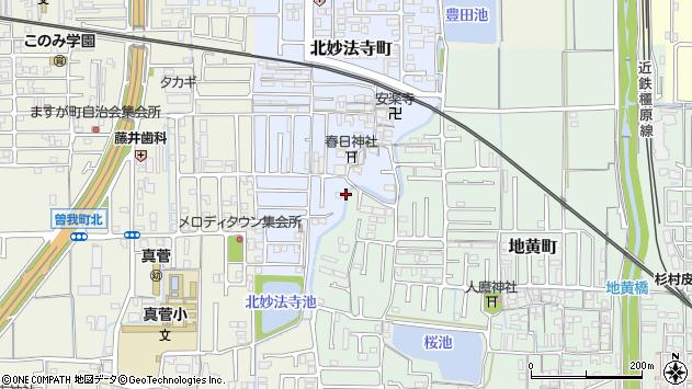 〒634-0843 奈良県橿原市北妙法寺町の地図