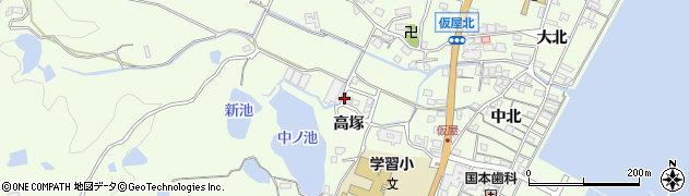 兵庫県淡路市久留麻(高塚)周辺の地図