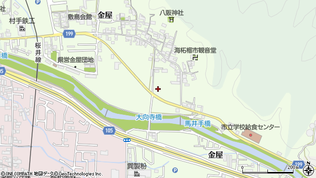 〒633-0002 奈良県桜井市金屋の地図