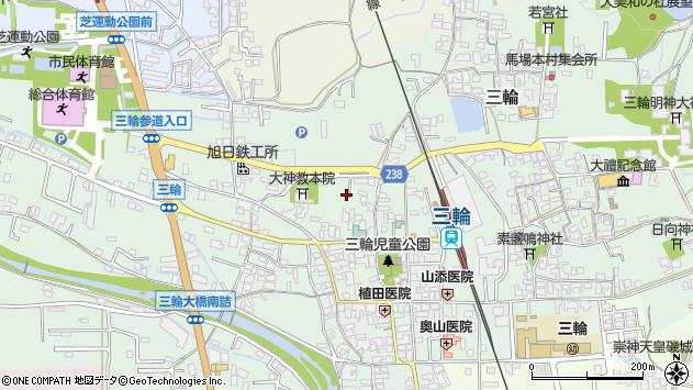 〒633-0001 奈良県桜井市三輪の地図