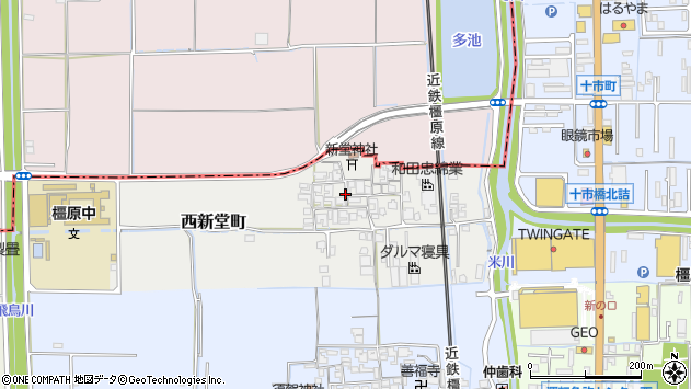 〒634-0801 奈良県橿原市西新堂町の地図