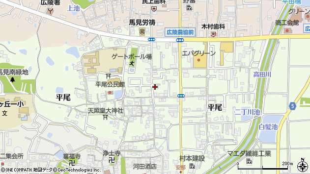 〒635-0822 奈良県北葛城郡広陵町平尾の地図