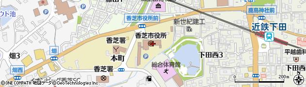 奈良県香芝市周辺の地図