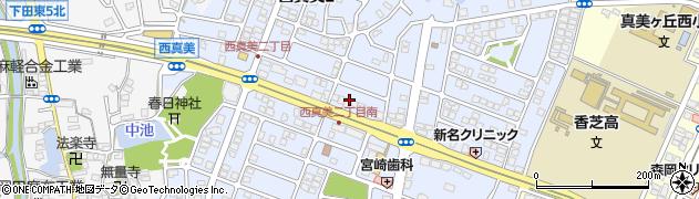 奈良県香芝市西真美周辺の地図