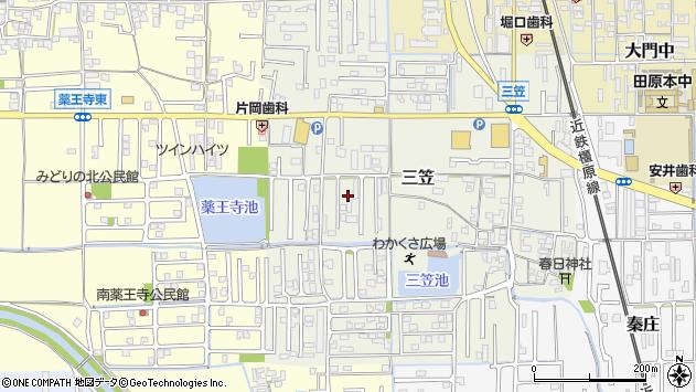 〒636-0342 奈良県磯城郡田原本町三笠の地図