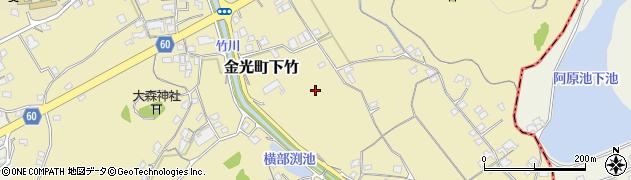 岡山県浅口市金光町下竹周辺の地図