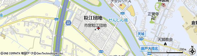 岡山県倉敷市粒江団地周辺の地図