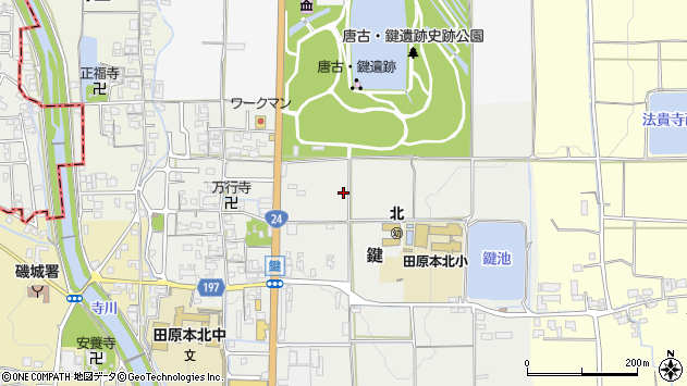 〒636-0223 奈良県磯城郡田原本町鍵の地図