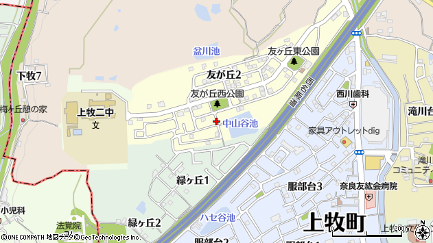 〒639-0203 奈良県北葛城郡上牧町友が丘の地図