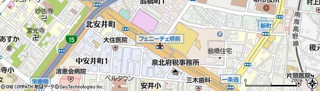 市民会館前周辺の地図