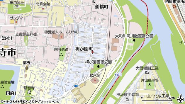 〒583-0004 大阪府藤井寺市梅が園町の地図