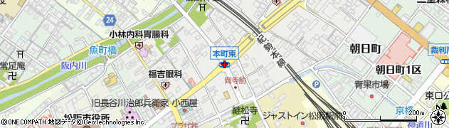 本町東周辺の地図