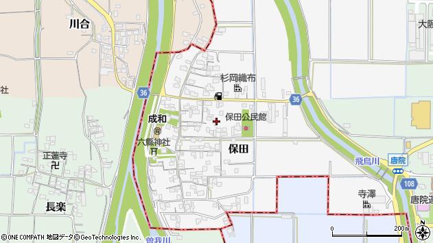 〒636-0205 奈良県磯城郡川西町保田の地図