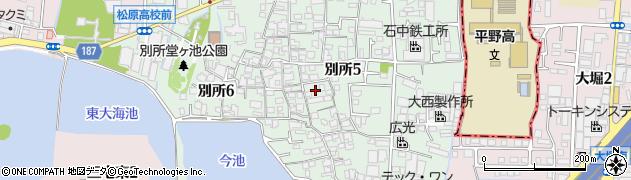 大阪府松原市別所周辺の地図
