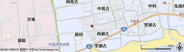 愛知県田原市小塩津町(上新田)周辺の地図