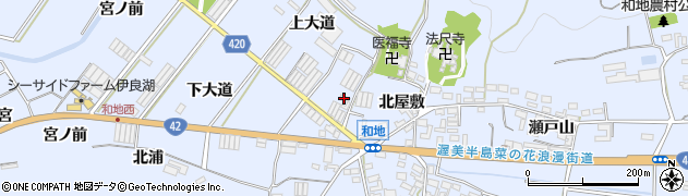 愛知県田原市和地町(上大道)周辺の地図