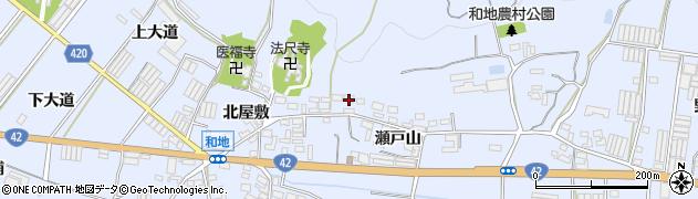 愛知県田原市和地町(北山)周辺の地図