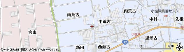 愛知県田原市小塩津町(南荒古)周辺の地図