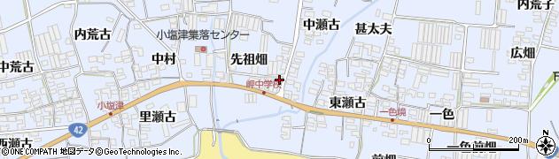 愛知県田原市小塩津町(先祖畑)周辺の地図