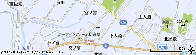 愛知県田原市和地町(下大道)周辺の地図