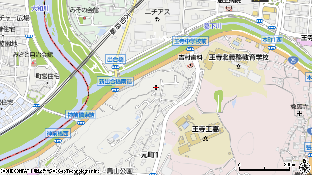 〒636-0013 奈良県北葛城郡王寺町元町の地図