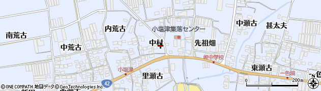 愛知県田原市小塩津町(中村)周辺の地図