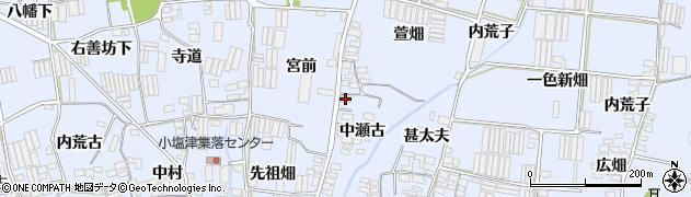 愛知県田原市小塩津町(中瀬古)周辺の地図