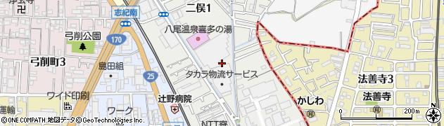 大阪府八尾市二俣周辺の地図
